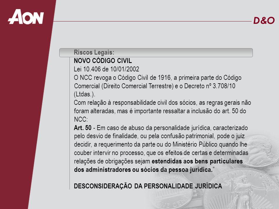 D&OD&O Riscos Legais: NOVO CÓDIGO CIVIL Lei 10.406 de 10/01/2002 O NCC revoga o Código Civil de 1916, a primeira parte do Código Comercial (Direito Co