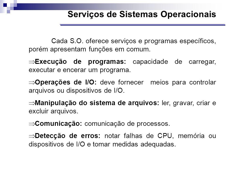 Serviços de Sistemas Operacionais Cada S.O. oferece serviços e programas específicos, porém apresentam funções em comum. Execução de programas: capaci