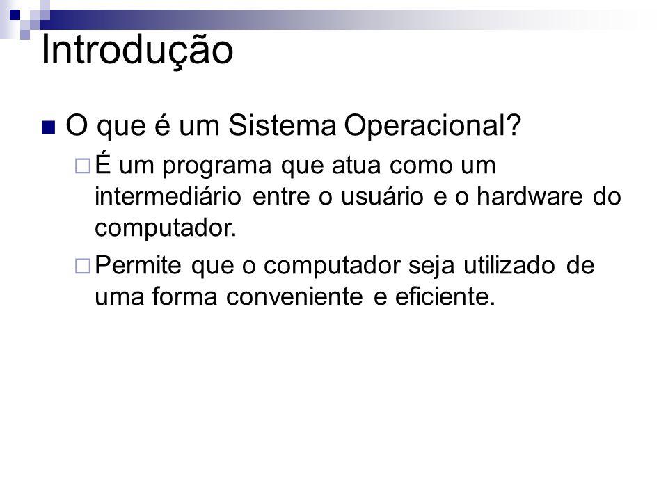 Introdução O que é um Sistema Operacional? É um programa que atua como um intermediário entre o usuário e o hardware do computador. Permite que o comp