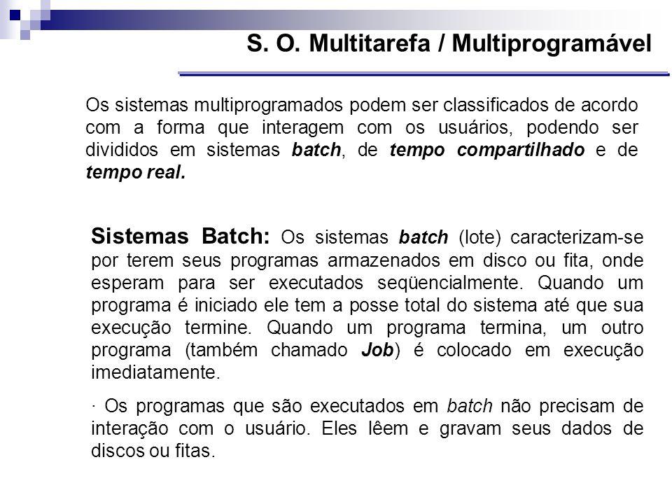 Os sistemas multiprogramados podem ser classificados de acordo com a forma que interagem com os usuários, podendo ser divididos em sistemas batch, de