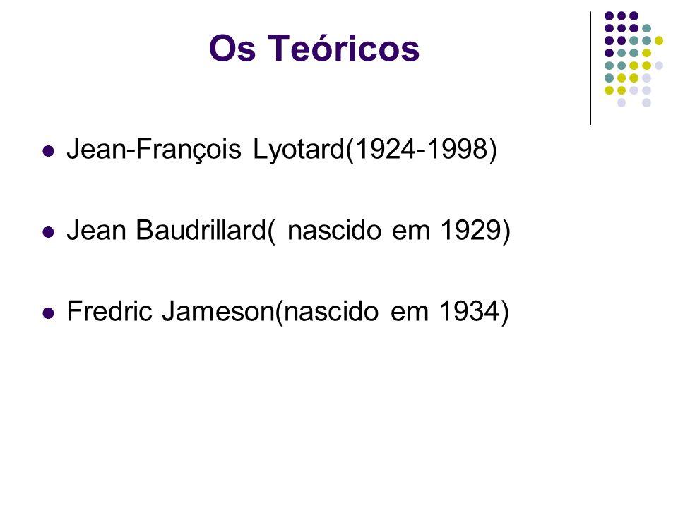 Os Teóricos Jean-François Lyotard(1924-1998) Jean Baudrillard( nascido em 1929) Fredric Jameson(nascido em 1934)