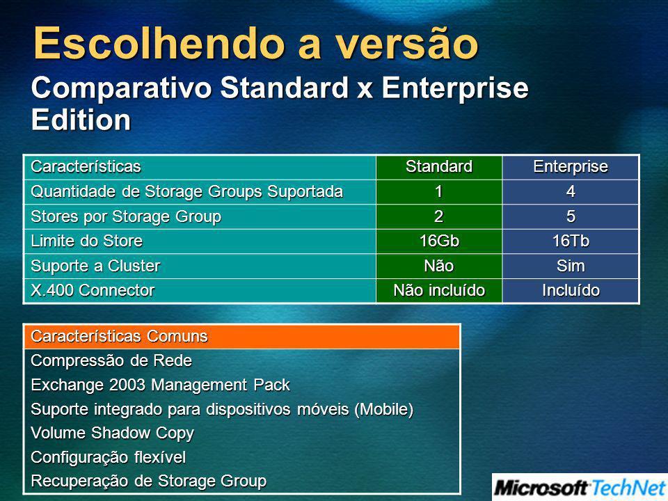 Escolhendo a versão Comparativo Standard x Enterprise Edition Características StandardEnterprise Quantidade de Storage Groups Suportada 14 Stores por