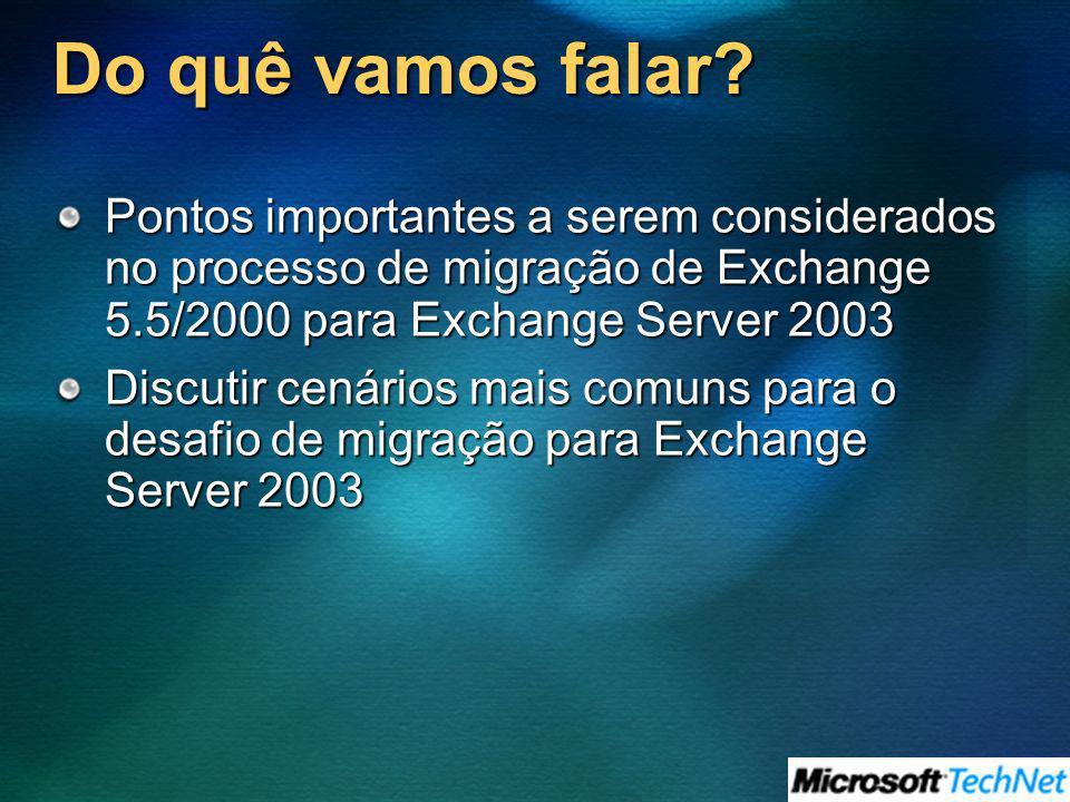 Do quê vamos falar? Pontos importantes a serem considerados no processo de migração de Exchange 5.5/2000 para Exchange Server 2003 Discutir cenários m