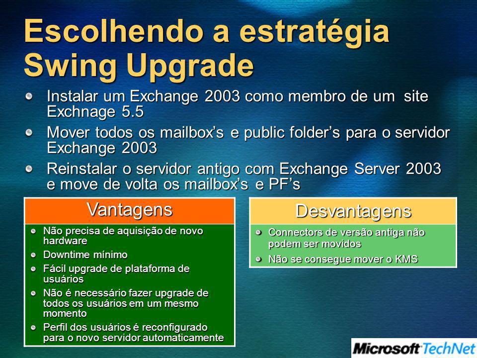 Escolhendo a estratégia Swing Upgrade Instalar um Exchange 2003 como membro de um site Exchnage 5.5 Mover todos os mailboxs e public folders para o se