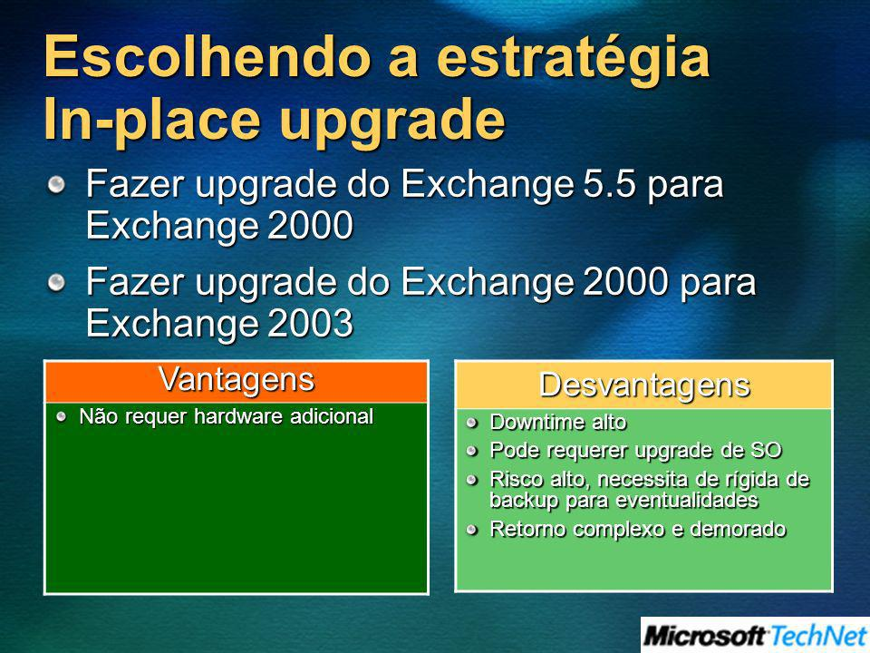 Escolhendo a estratégia In-place upgrade Fazer upgrade do Exchange 5.5 para Exchange 2000 Fazer upgrade do Exchange 2000 para Exchange 2003 Desvantage