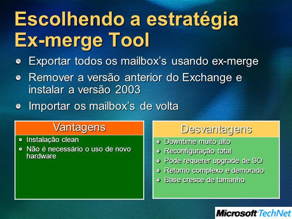 Escolhendo a estratégia Ex-merge Tool Exportar todos os mailboxs usando ex-merge Remover a versão anterior do Exchange e instalar a versão 2003 Import
