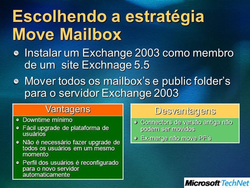 Escolhendo a estratégia Move Mailbox Instalar um Exchange 2003 como membro de um site Exchnage 5.5 Mover todos os mailboxs e public folders para o ser