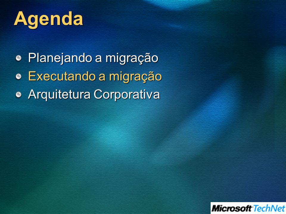 Agenda Planejando a migração Executando a migração Arquitetura Corporativa