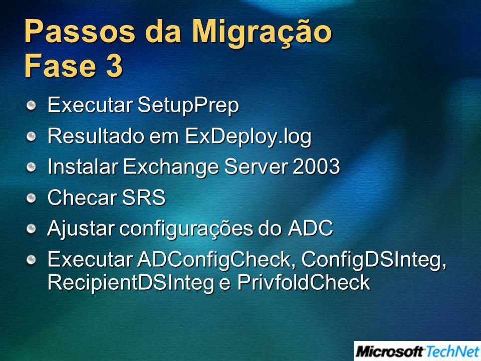 Passos da Migração Fase 3 Executar SetupPrep Resultado em ExDeploy.log Instalar Exchange Server 2003 Checar SRS Ajustar configurações do ADC Executar