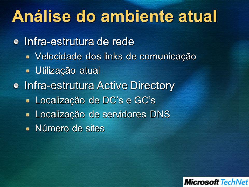 Análise do ambiente atual Infra-estrutura de rede Velocidade dos links de comunicação Utilização atual Infra-estrutura Active Directory Localização de