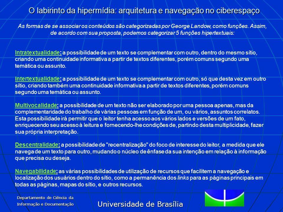 Universidade de Brasília O labirinto da hipermídia: arquitetura e navegação no ciberespaço Departamento de Ciência da Informação e Documentação As for