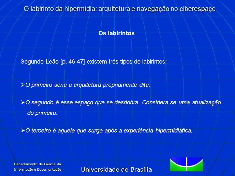 Universidade de Brasília O labirinto da hipermídia: arquitetura e navegação no ciberespaço Departamento de Ciência da Informação e Documentação Os lab