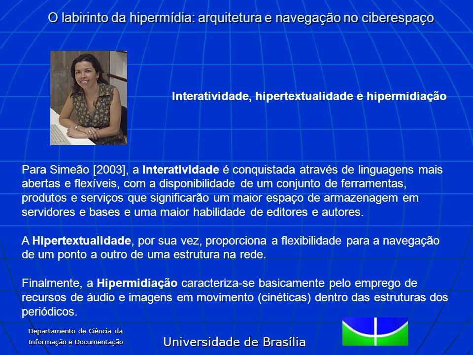Universidade de Brasília O labirinto da hipermídia: arquitetura e navegação no ciberespaço Departamento de Ciência da Informação e Documentação Intera