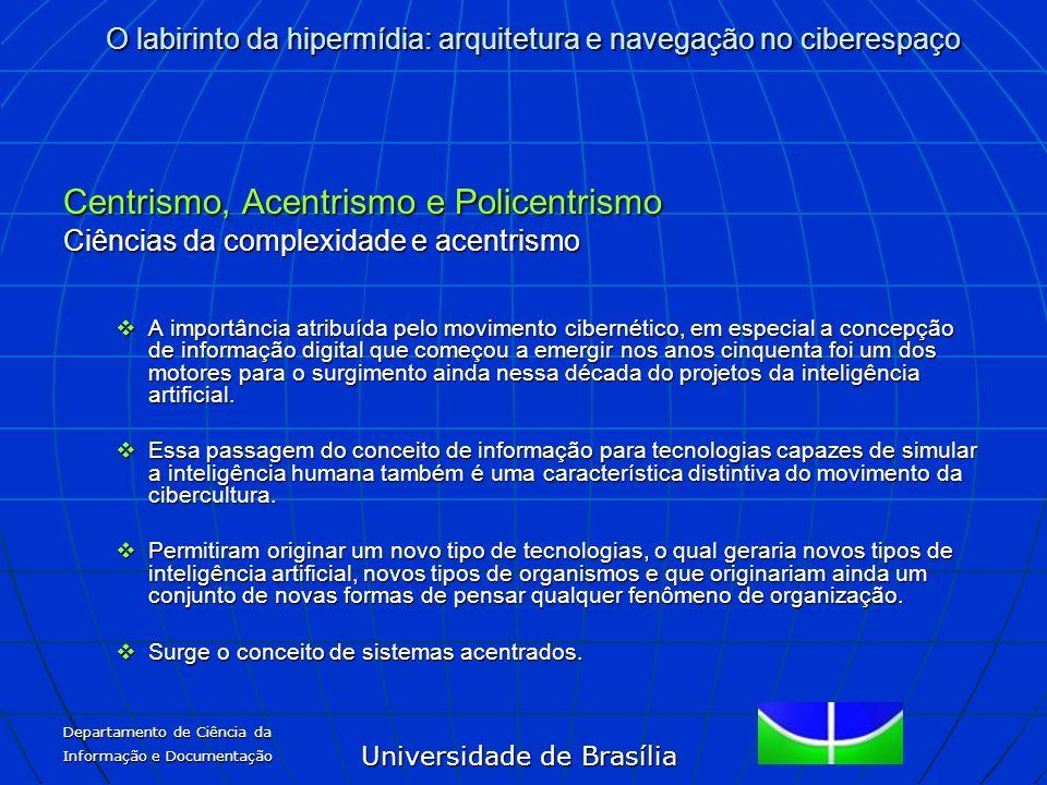 Universidade de Brasília O labirinto da hipermídia: arquitetura e navegação no ciberespaço Departamento de Ciência da Informação e Documentação Centri