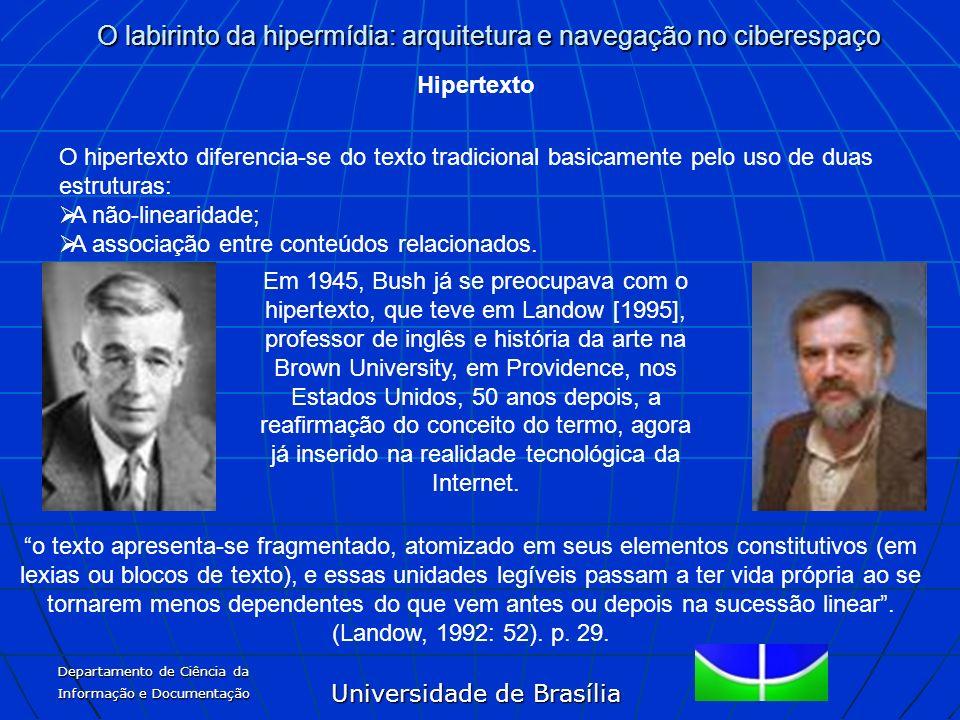 Universidade de Brasília O labirinto da hipermídia: arquitetura e navegação no ciberespaço Departamento de Ciência da Informação e Documentação Hipert