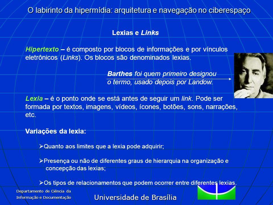 Universidade de Brasília O labirinto da hipermídia: arquitetura e navegação no ciberespaço Departamento de Ciência da Informação e Documentação Lexias