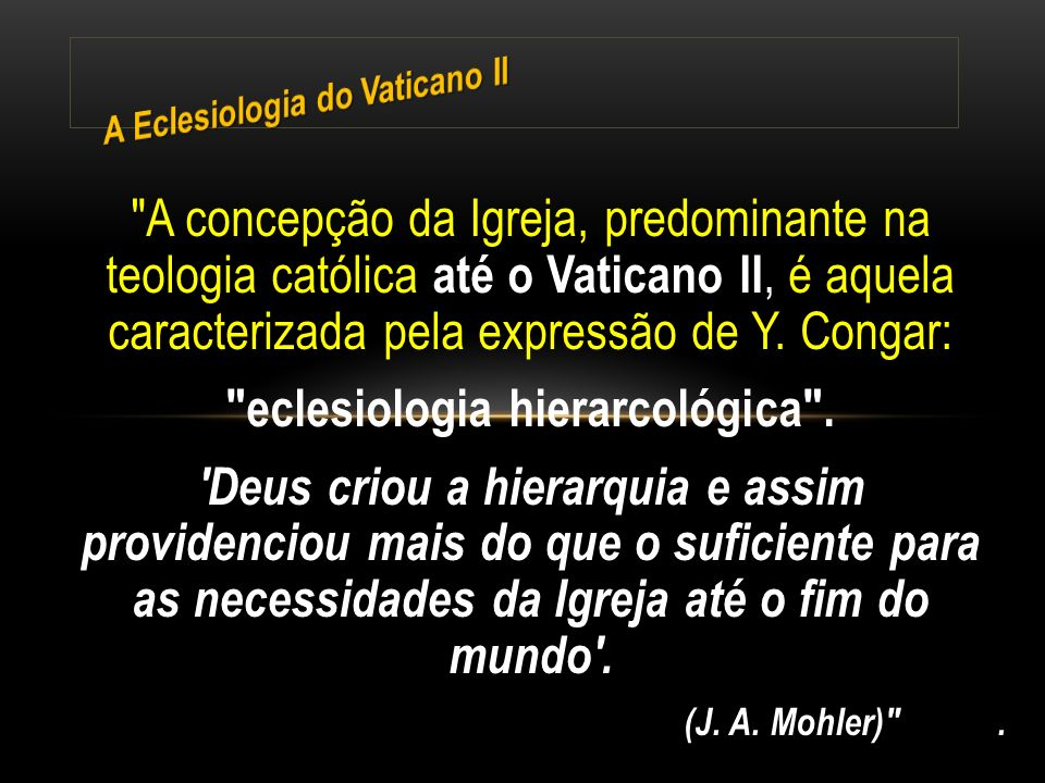 Ao situar o capítulo sobre o Povo de Deus antes dos capítulos sobre a hierarquia e sobre o laicato na Lumen Gentium, o Vaticano II realizou uma autêntica revolução