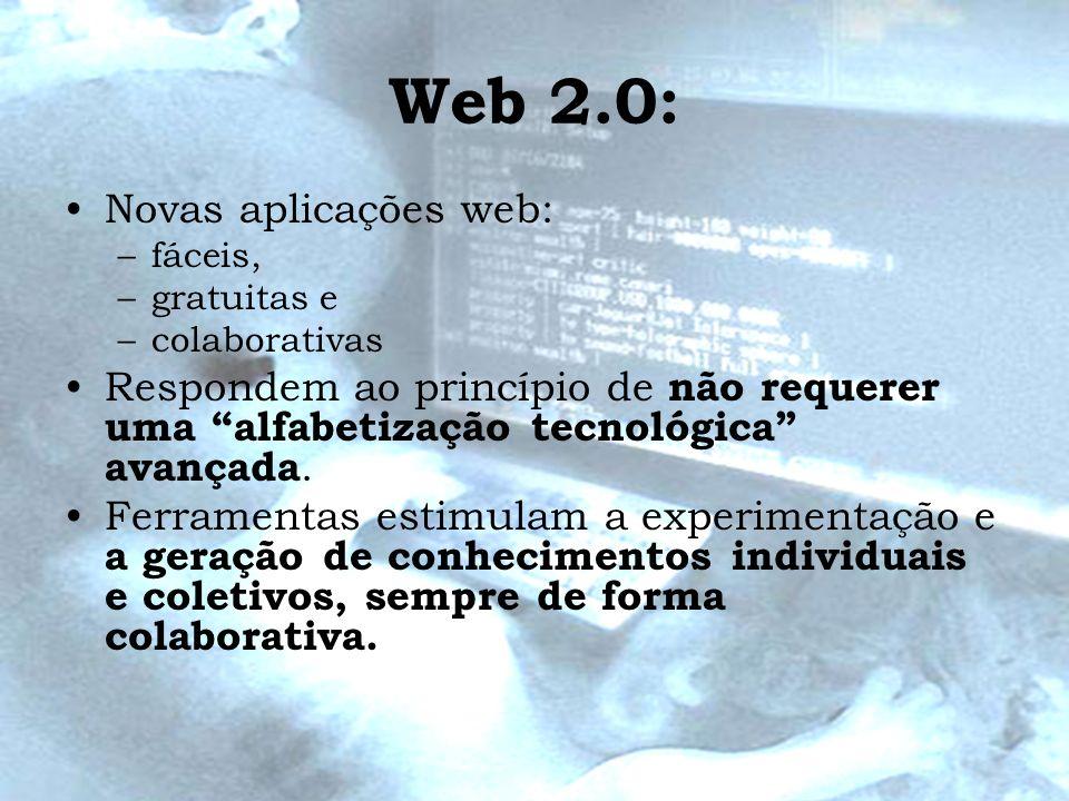 Web 2.0: Novas aplicações web: –fáceis, –gratuitas e –colaborativas Respondem ao princípio de não requerer uma alfabetização tecnológica avançada. Fer