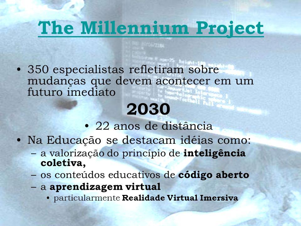 The Millennium Project 350 especialistas refletiram sobre mudanças que devem acontecer em um futuro imediato 2030 22 anos de distância Na Educação se