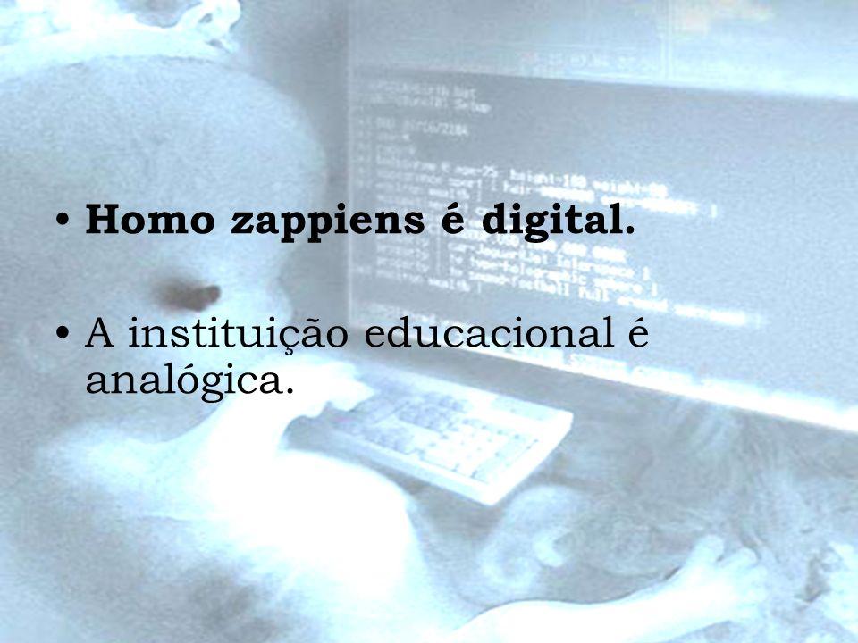 Homo zappiens é digital. A instituição educacional é analógica.