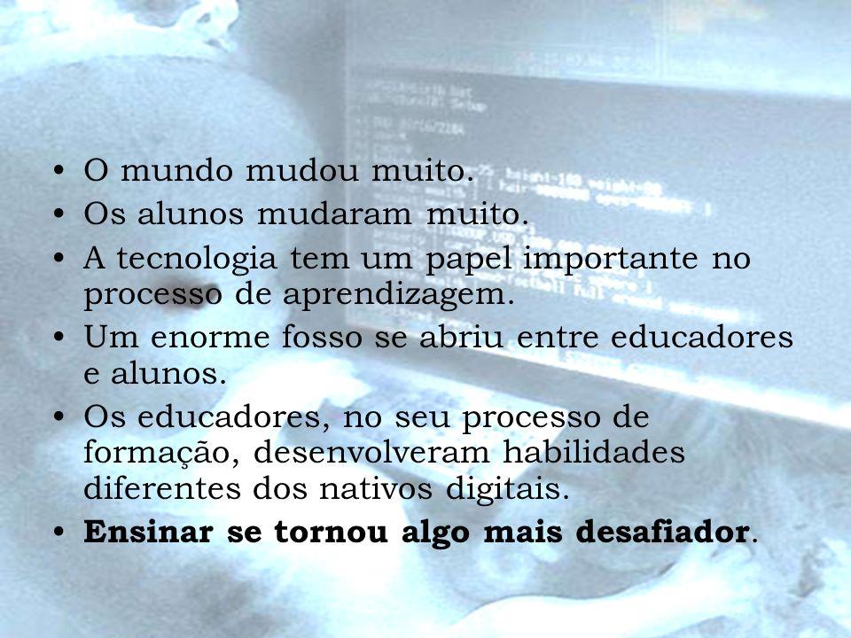O mundo mudou muito. Os alunos mudaram muito. A tecnologia tem um papel importante no processo de aprendizagem. Um enorme fosso se abriu entre educado