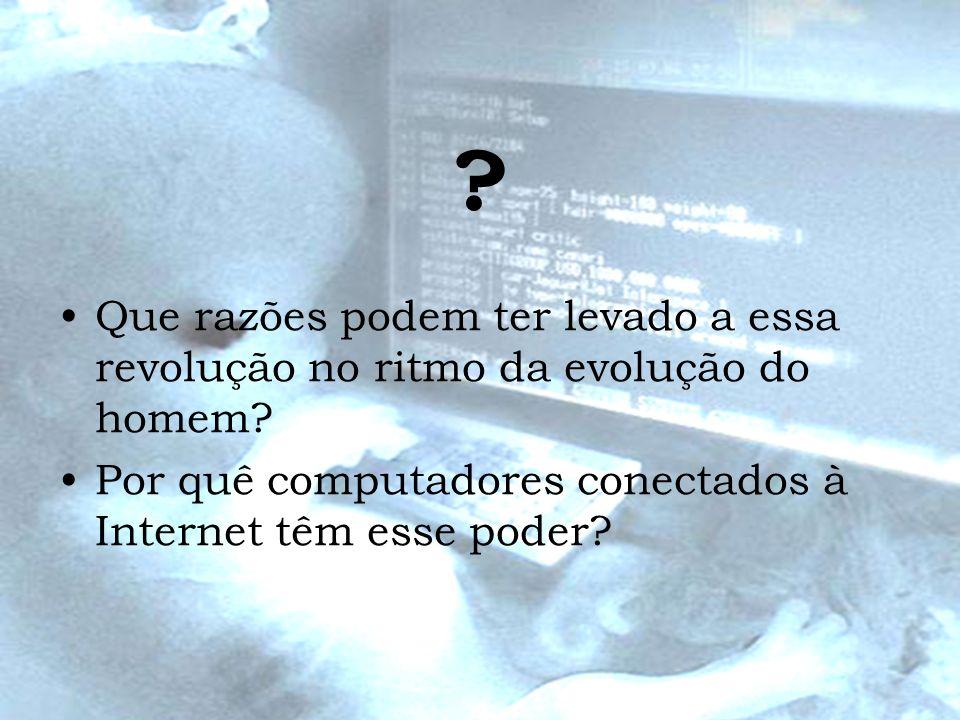 ? Que razões podem ter levado a essa revolução no ritmo da evolução do homem? Por quê computadores conectados à Internet têm esse poder?