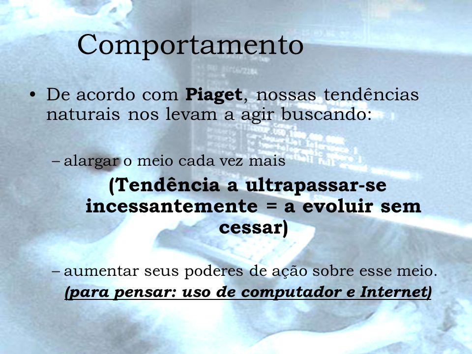 Comportamento De acordo com Piaget, nossas tendências naturais nos levam a agir buscando: –alargar o meio cada vez mais (Tendência a ultrapassar-se in