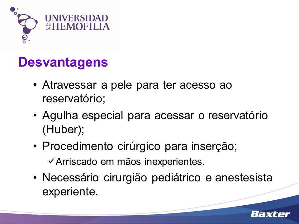 Desvantagens Atravessar a pele para ter acesso ao reservatório; Agulha especial para acessar o reservatório (Huber); Procedimento cirúrgico para inser