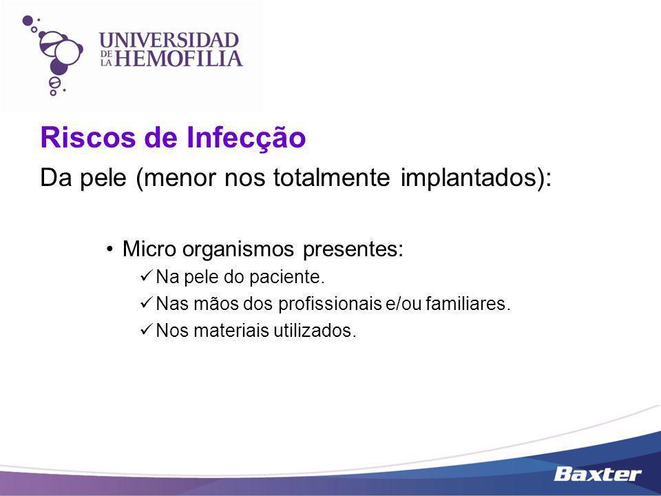 Riscos de Infecção Da pele (menor nos totalmente implantados): Micro organismos presentes: Na pele do paciente. Nas mãos dos profissionais e/ou famili