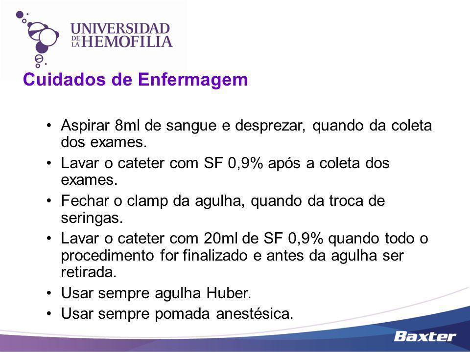 Cuidados de Enfermagem Aspirar 8ml de sangue e desprezar, quando da coleta dos exames. Lavar o cateter com SF 0,9% após a coleta dos exames. Fechar o