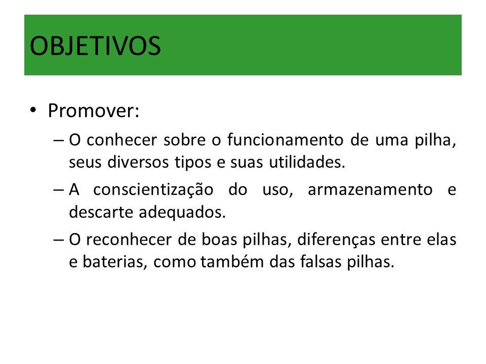 OBJETIVOS Promover: – O conhecer sobre o funcionamento de uma pilha, seus diversos tipos e suas utilidades. – A conscientização do uso, armazenamento