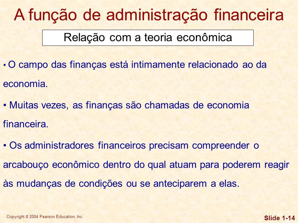 Copyright © 2004 Pearson Education, Inc. Slide 1-13 A função de administração financeira O porte e a relevância da função de administração financeira