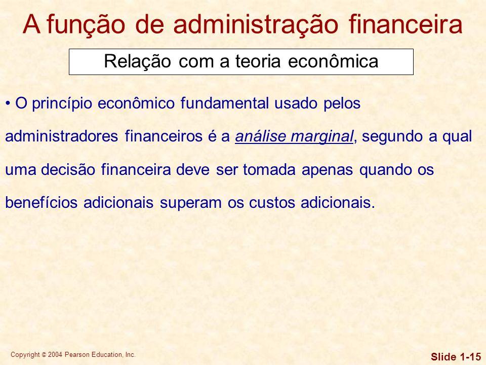 Copyright © 2004 Pearson Education, Inc. Slide 1-14 A função de administração financeira O campo das finanças está intimamente relacionado ao da econo