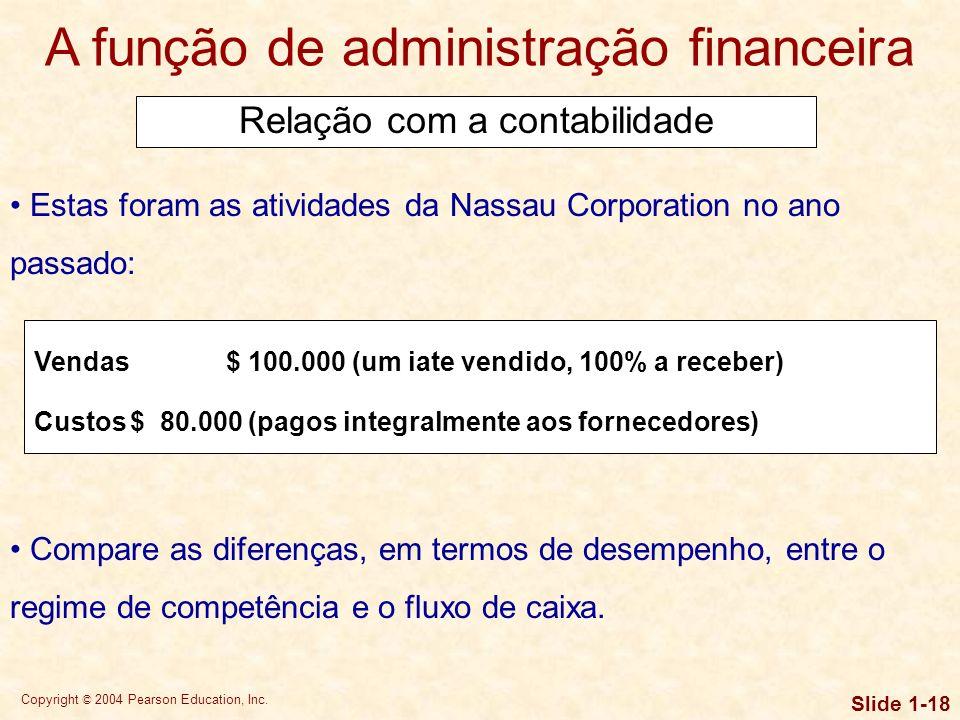 Copyright © 2004 Pearson Education, Inc. Slide 1-17 A função de administração financeira Uma diferença importante em termos de perspectiva e ênfase en
