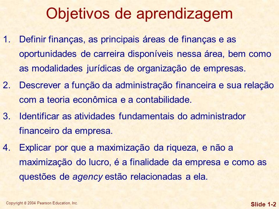 Copyright © 2004 Pearson Education, Inc.Slide 1-22 Objetivo da empresa Maximização do lucro.