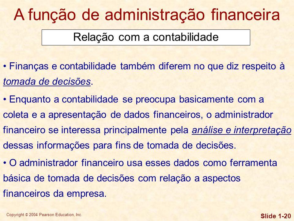 Copyright © 2004 Pearson Education, Inc. Slide 1-19 A função de administração financeira Relação com a contabilidade DEMONSTRAÇÃO DO RESULTADO COMPETÊ