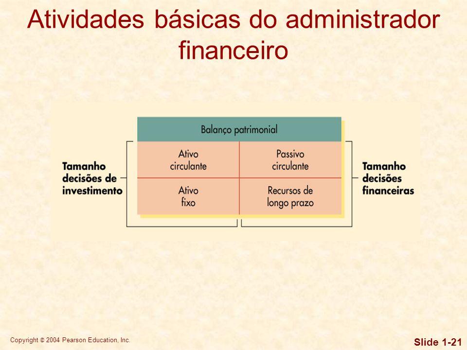 Copyright © 2004 Pearson Education, Inc. Slide 1-20 A função de administração financeira Finanças e contabilidade também diferem no que diz respeito à