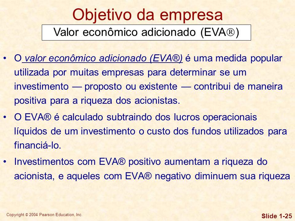 Copyright © 2004 Pearson Education, Inc. Slide 1-24 Objetivo da empresa Maximização da riqueza do acionista Também pode ser descrita por meio do segui