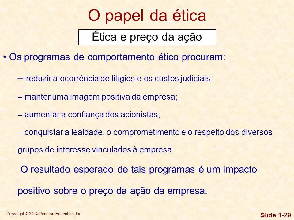 Copyright © 2004 Pearson Education, Inc. Slide 1-28 O papel da ética Análise dos aspectos éticos Para avaliar a viabilidade ética de uma ação proposta