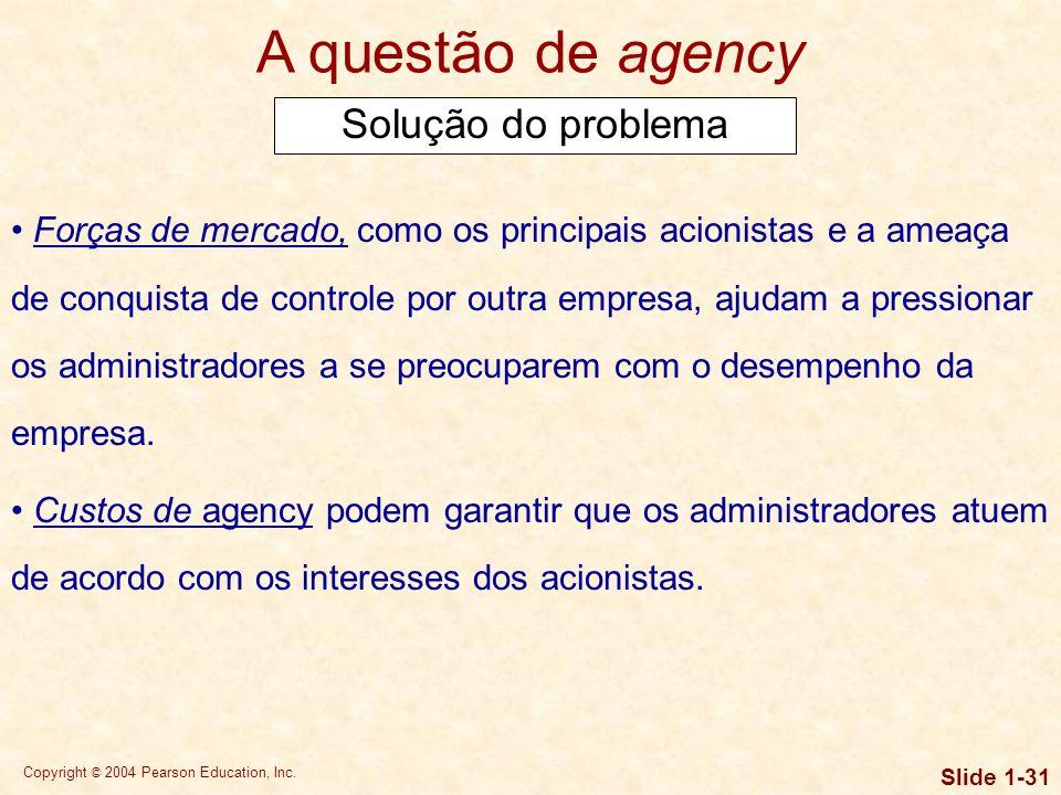 Copyright © 2004 Pearson Education, Inc. Slide 1-30 Questões de agency Sempre que um administrador detém menos de 100% do capital da empresa, há um po