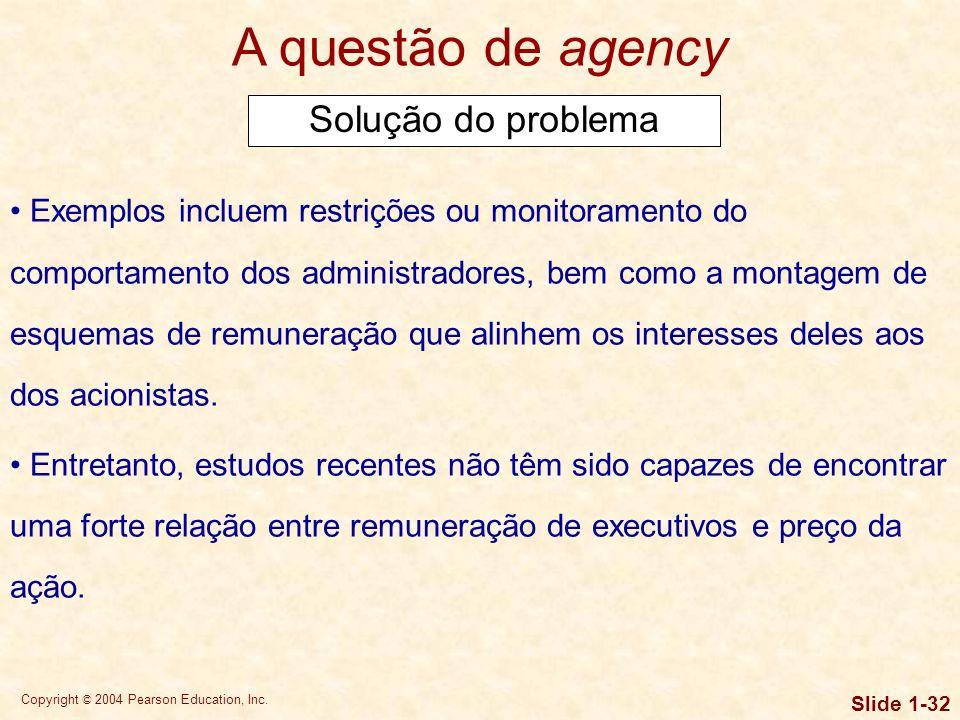 Copyright © 2004 Pearson Education, Inc. Slide 1-31 A questão de agency Forças de mercado, como os principais acionistas e a ameaça de conquista de co