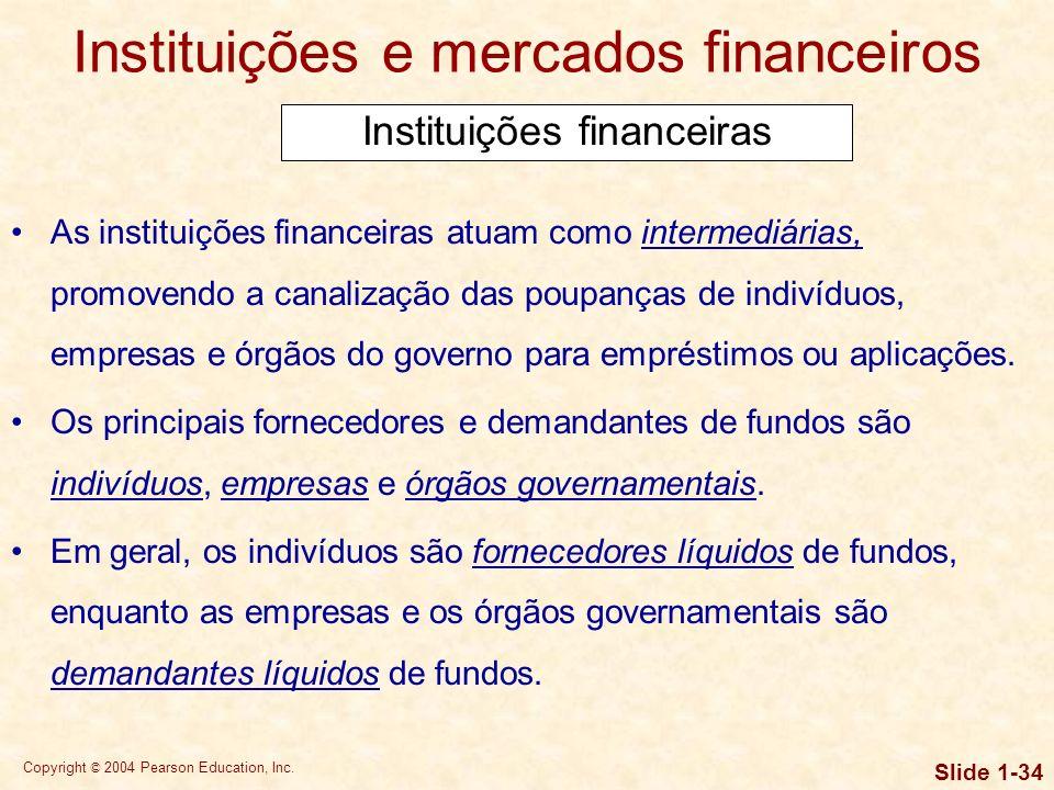 Copyright © 2004 Pearson Education, Inc. Slide 1-33 Instituições e mercados financeiros As empresas que necessitam de fundos externos podem obtê- los