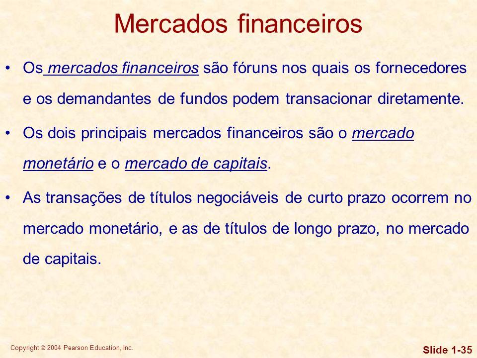 Copyright © 2004 Pearson Education, Inc. Slide 1-34 Instituições e mercados financeiros As instituições financeiras atuam como intermediárias, promove