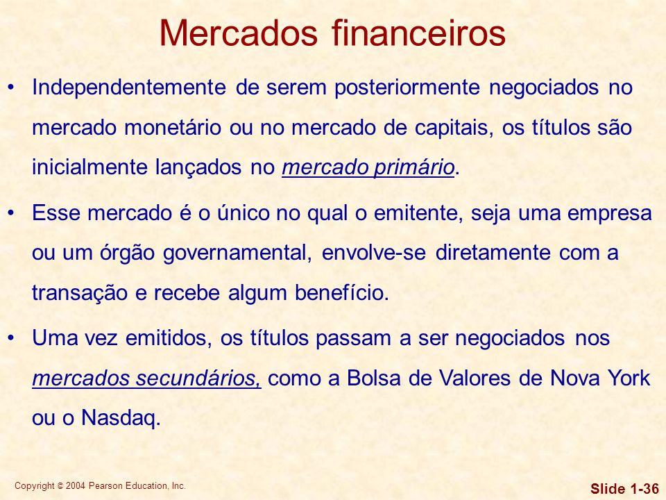 Copyright © 2004 Pearson Education, Inc. Slide 1-35 Mercados financeiros Os mercados financeiros são fóruns nos quais os fornecedores e os demandantes