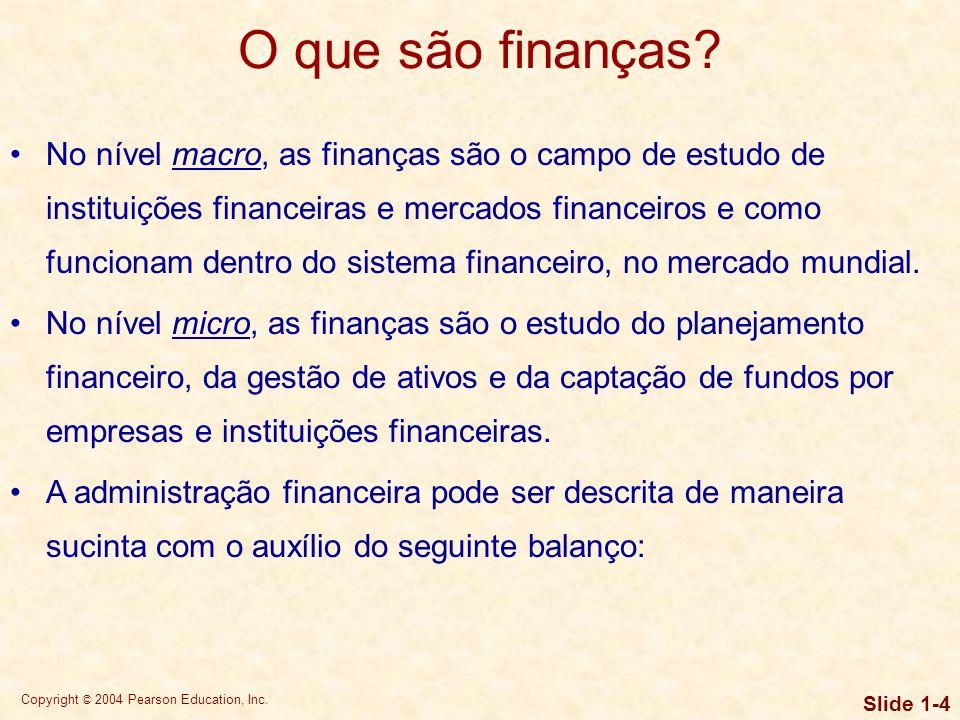 Copyright © 2004 Pearson Education, Inc. Slide 1-3 Objetivos de aprendizagem 5.Compreender a relação entre instituições financeiras e mercados finance