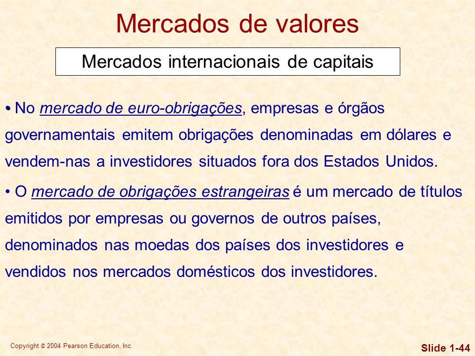 Copyright © 2004 Pearson Education, Inc. Slide 1-43 Mercados de valores Mercado de balcão O mercado de balcão é um mercado intangível de realização de