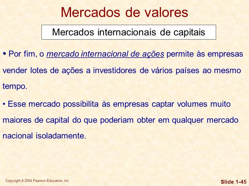 Copyright © 2004 Pearson Education, Inc. Slide 1-44 Mercados de valores Mercados internacionais de capitais No mercado de euro-obrigações, empresas e