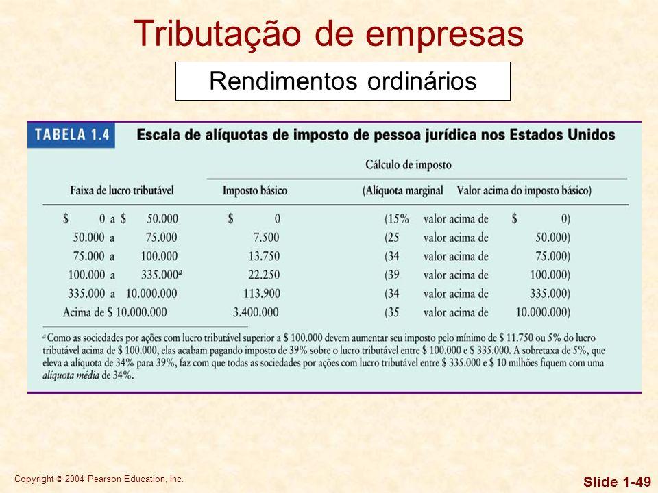 Copyright © 2004 Pearson Education, Inc. Slide 1-48 Rendimentos ordinários são obtidos com a venda de bens ou serviços pela empresa, sendo tributados