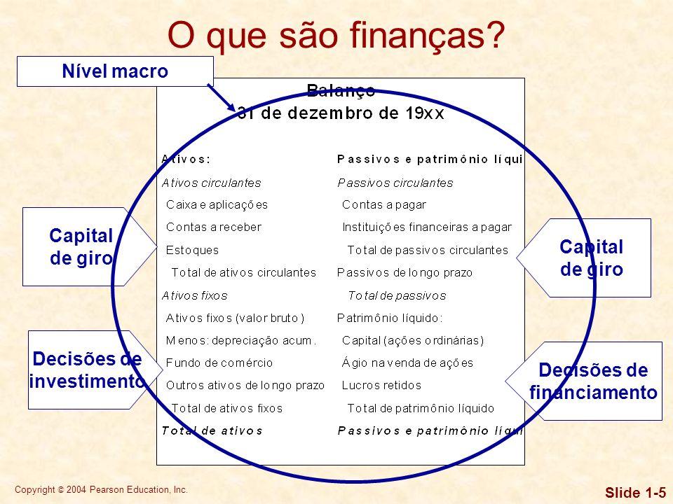 Copyright © 2004 Pearson Education, Inc. Slide 1-4 O que são finanças? No nível macro, as finanças são o campo de estudo de instituições financeiras e