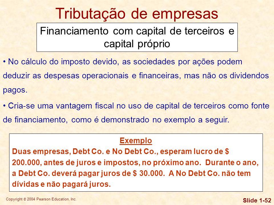 Copyright © 2004 Pearson Education, Inc. Slide 1-51 Tributação de empresas Imposto sobre dividendos e juros recebidos Apenas no caso de sociedades por